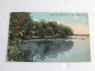 G443 Postcard Lake View in Steuben Co Near Angola IN Indiana