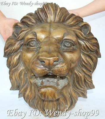 """11""""  Chinese Fengshui Bronze Fu Foo Dogs Leo Lion Lions Head Bust Mask Statue"""