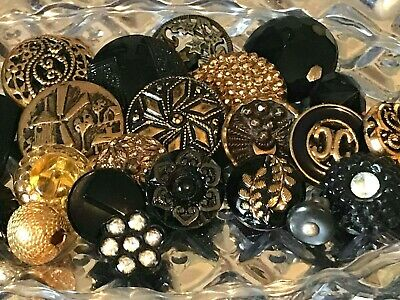Lot of 25 Vintage Antique Tiny Treasures Glass Rhinestone Picture Metal Buttons