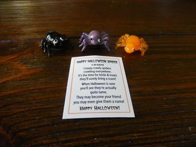 Halloween Set of 3 Small Glass Spiders - Black, Orange and Purple with Card