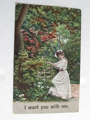 G307 Postcard I want you with Me Victorian Lady in the garden