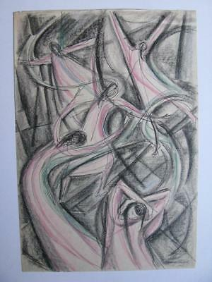 Rare Mid-Century Modernist Artist Annette Troxel Orig Signed Drawing Painting
