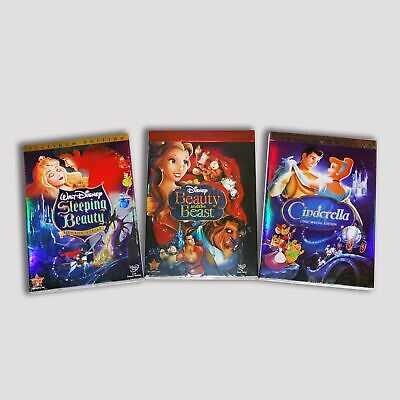 Disney DVD Princess 3 Lot - Cinderella Sleeping Beauty Beauty and the Beast