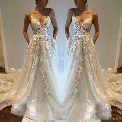 Simple Beach Wedding Dresses Chiffon V Neck Plus Size Aline Boho Bridal Gowns