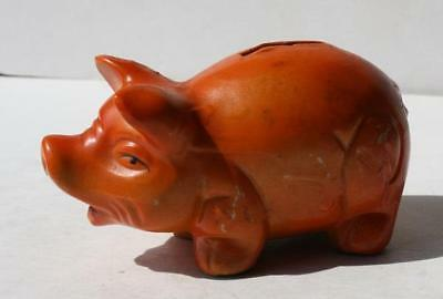 Piggy Bank Orange Ceramic Hand Painted Pig Figure Made in Japan Vintage Beauty