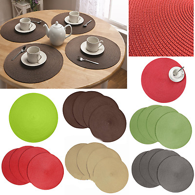 Round Brown Dining Table Place Mats Cotton Placemats Protectors Set of 4