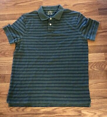 69ae274eca6 VINTAGE J CREW Men's striped Polo Rugby Shirt -Green/Navy stripes Sz ...