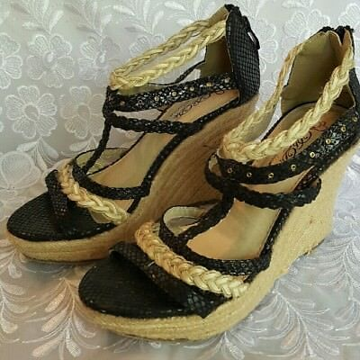 73d92f531758 DBDK Women s Ankle braided Wrap T-Strap High Wedges Dress black Sandals sz  8.5
