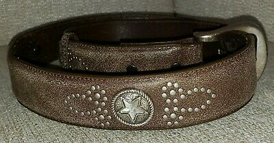 Roper Womens leather Western Belt w/star studded Amber and Silver Jeweled Large
