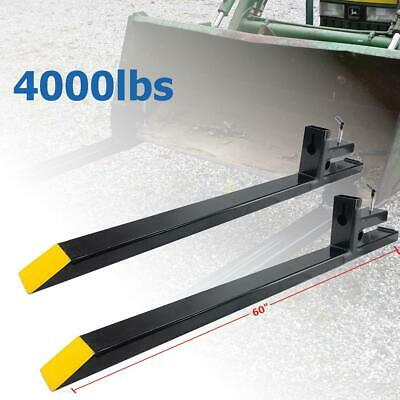 """60"""" 4000lbs Clamp on Pallet Forks Bucket Skid Steer For Loader Tractor Chain"""
