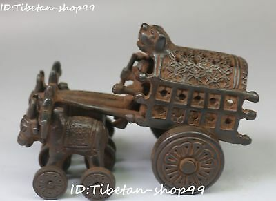 """7"""" Collect Old Tibet Black Bronze Cattle Cow Oxen Car Chariot Carriage Statue"""