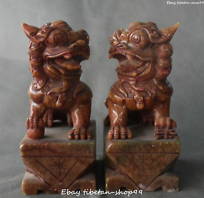 "8"" Chinese Old Jade Handwork Carving Foo Fu Dog Guardion Lion Leo Pair Statue"