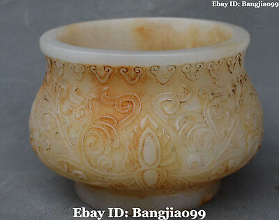 Chinese Old Jade Ancient Pure Hand Engraving Pot Jar Crock Cylinder Tank Statue