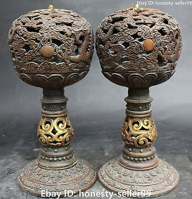 "12"" Chinese Bronze Gilt Dragon Playing with pearl Sandalwood Burner Censer Pair"