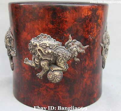 """9""""China Pure Silver Foo Fu Dog Lion Rosewood Pen Container Brush Pot Pencil Vase"""