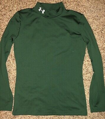 8b59a22f7094 UNDER ARMOUR ~ Cold Gear Mock Turtle Neck Shirt ~ Youth Boys Large - Green
