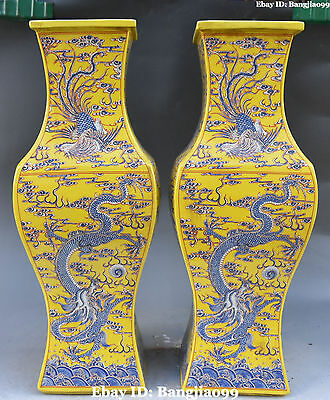 "16""China Porcelain Ancient Dynasty Dragon Phoenix Flower Vase Bottle Pair Statue"