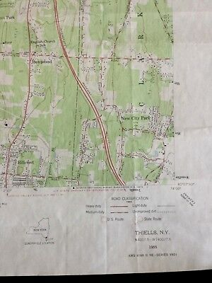 Vintage Topographical Map, NY Map - Thiells, New York Quadrangle - 1955