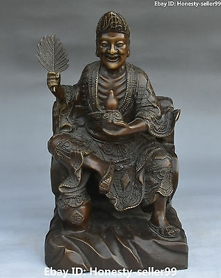 "12"" Chinese Pure Bronze Folk Mad Monk Jigong Living Buddha Fan Gourd Wine Pot"