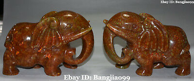 21CM Chinese Old Jade Handwork Carving Elephant Heffalump Animal Pair Statue