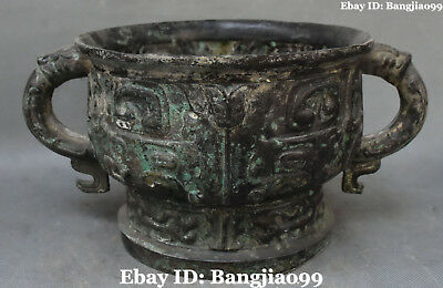"""12"""" Old Collect Chinese Bronze Ware Ancient Dragon Beast Incense Burner Censer"""