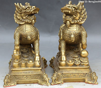 "8"" Chinese Bronze Kylin Kirin Chi-Lin Kilin Qilin unicorn Animal Pair Statue"