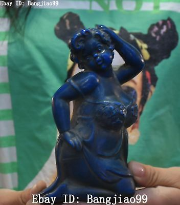 Old Chinese Imitation lapis lazuli Carving Sexy Belle Beauty Fairy Woman Statue