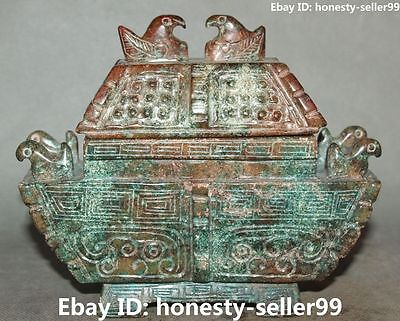 Chinese Old Jade Handwork Carving Phoenix Bird Incense Burner Censer Statue