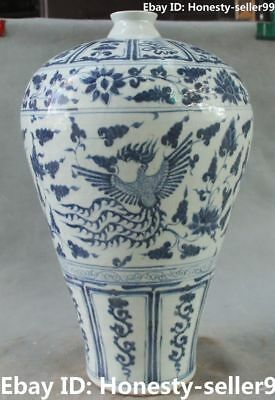 18' Chinese Old Blue White Porcelain Ancient Phoenix Birds Vase Bottle Pot Jar