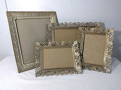 Lot of 4 Vintage Picture Photo Frames Metal Ornate Gold White Hollywood Regency
