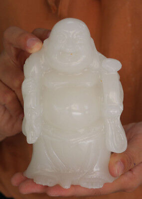 China White Jade Carved Wealth Money Bag Ruyi Happy Laugh Maitreya Buddha Statue