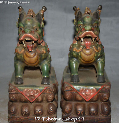 "8"" China Old Wucai Porcelain Wealth kylin Kirin Chi-Lin Kilin Qilin Beast Pair"