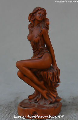 Chinese Boxwood Wood Carving Nude Sexy Mermaid Sea-maid Sea-maiden Belle Statue