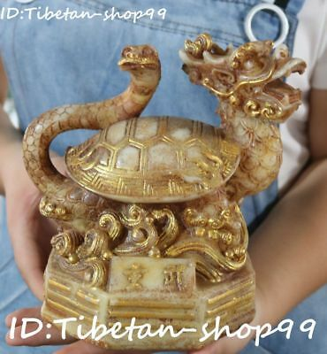 Rare China Old Jade Gilt Fengshui Wealth Tortoise Snake Xuanwu God Beast Statue
