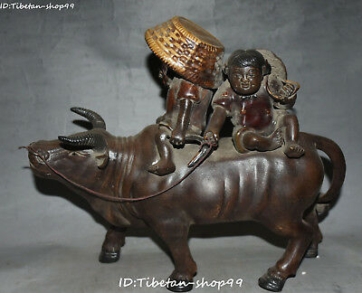 "11"" Old Marked Wucai Porcelain Tongzi Kid Cattle Bull Cow Oxen Animal Statue"