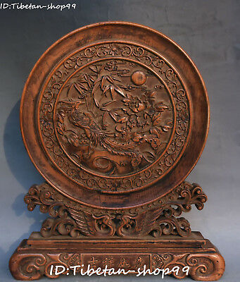 """14"""" Chinese Boxwood Carving Bamboo Peony Flower Fenghuang Bird Folding Screen"""