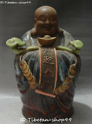 "12"" China Wucai Porcelain Wealth Ruyi Yuanbao Happy Laugh Maitreya Buddha Statue"