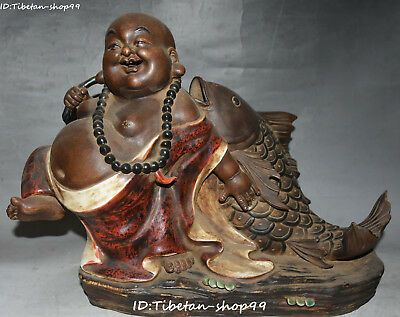 "17"" Old Chinese Wucai Porcelain Wealth Fish Happy Laugh Maitreya Buddha Statue"