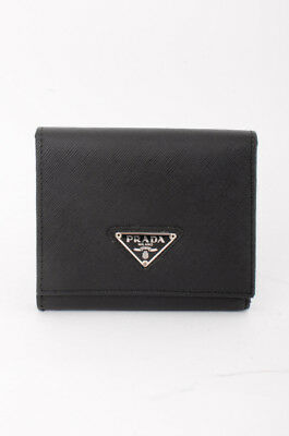 737dc109c846 PRADA Black Saffiano Textured Leather Silver Logo Placket Tri-Fold Small  Wallet
