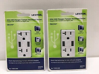 Leviton HAI T5832-BW White  20A USB Charger Tamper Resistant