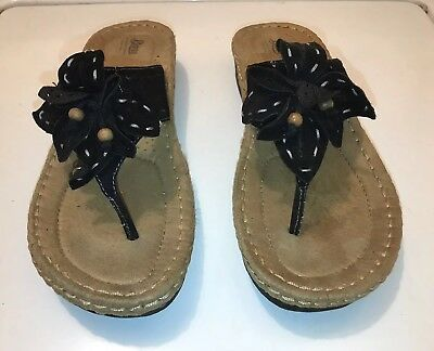 16e2656c96d6 Bass Alana Womens Black Suede Leather Thong Wedge Heel Sandal SZ 9.5M VGUC+