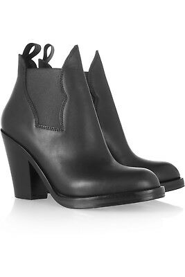 c223e4e6 ACNE STUDIOS TRACK Black Leather Pointed VE Toe Heeled Ankle Booties ...