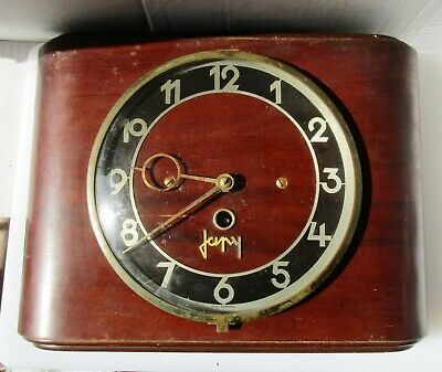 Great Vintage Timber and Chrome Wall Clock from JAPY with Key