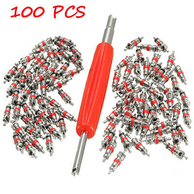 100pcs AC Car Truck Tyre Tire Air Conditioning Valve Stem Core Parts w/Remover
