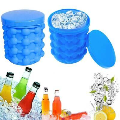 Newest 2x Ice-Cube Maker Silicone Ice Bucket Dual-use Revolutionary Space Saving