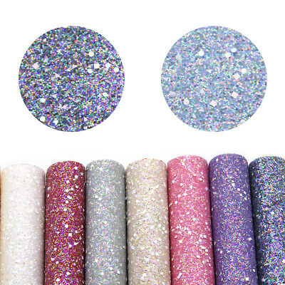20*34cm Crude Glitter Leather Fabric Sheet with Geometric Pattern Sequins Print