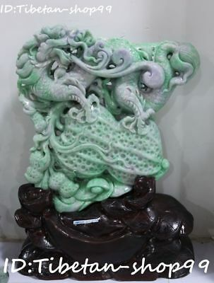 "12"" Natural Jadeite Emerald Peach Ruyi Peanut Dragon Loong Grape Fruit Statue"