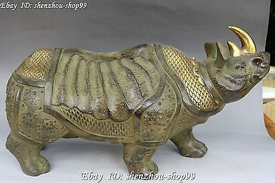 China Bronze Gilt Feng Shui Rhinoceros Ox Oxen Cattle Bull Cow Animal Statue