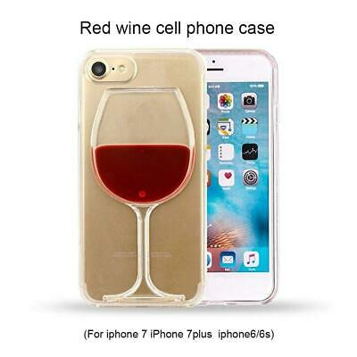 Xmas Liquid 3D Red Wine Glass PC Bottle Case Cover For iPhone 6/6S/7/7 Plus