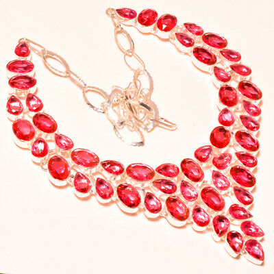 50a6690dc Faceted Pink Tourmaline Very Beautiful Look Gemstone Silver Jewelry Necklace  18